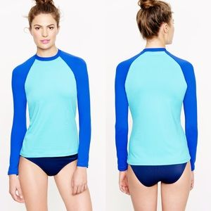 J. Crew Colorblock Sun Shirt rash guard blue XS